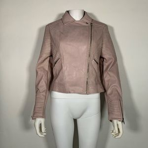 Bar III Jacket Moto Faux Leather Quilted Pink Sz M